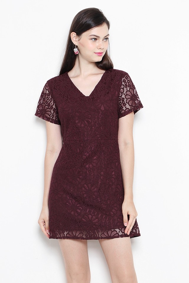 Anica Lace Dress Burgundy