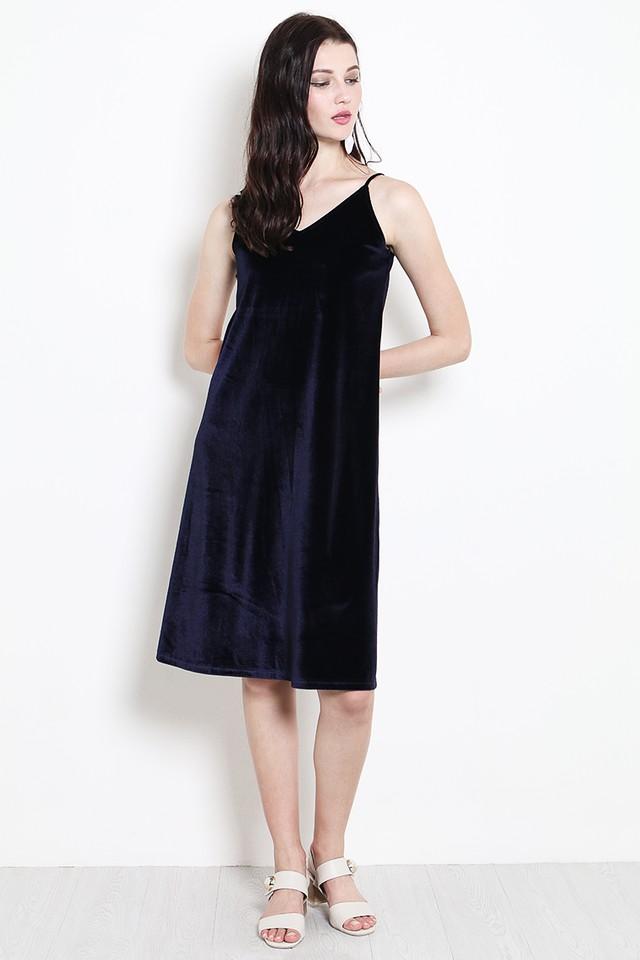 Keara Velvet Dress Navy