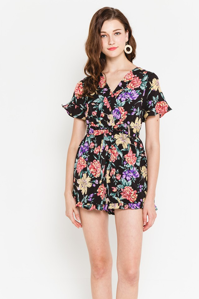 Lorettaa Playsuit Black Floral