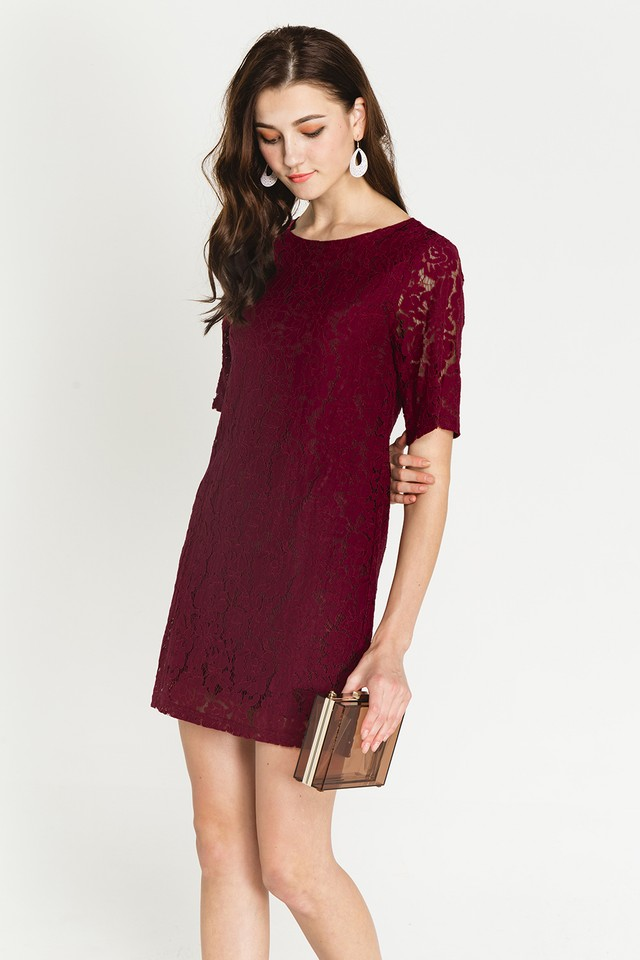 Trina Lace Dress Wine
