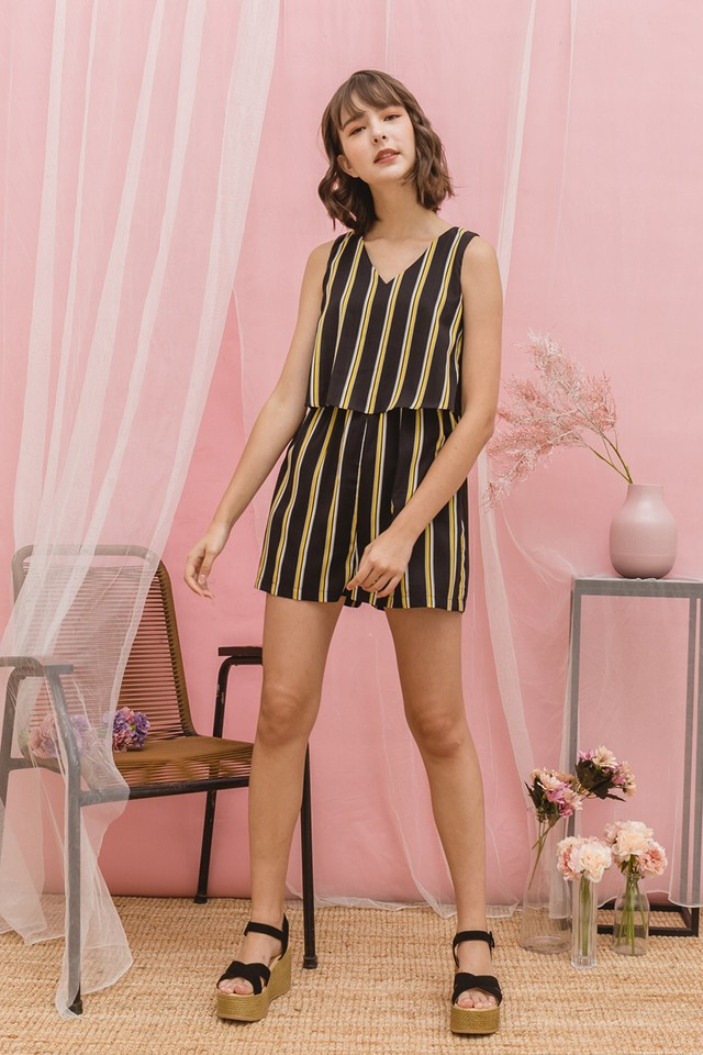 Lora Playsuit Black Stripes