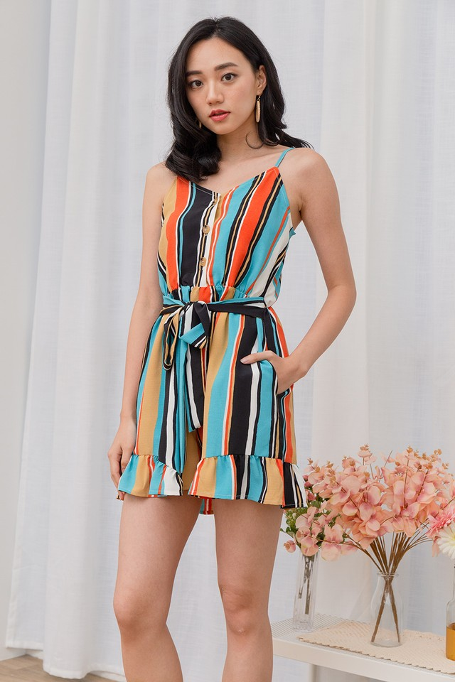 Aden Playsuit Rainbow Stripes