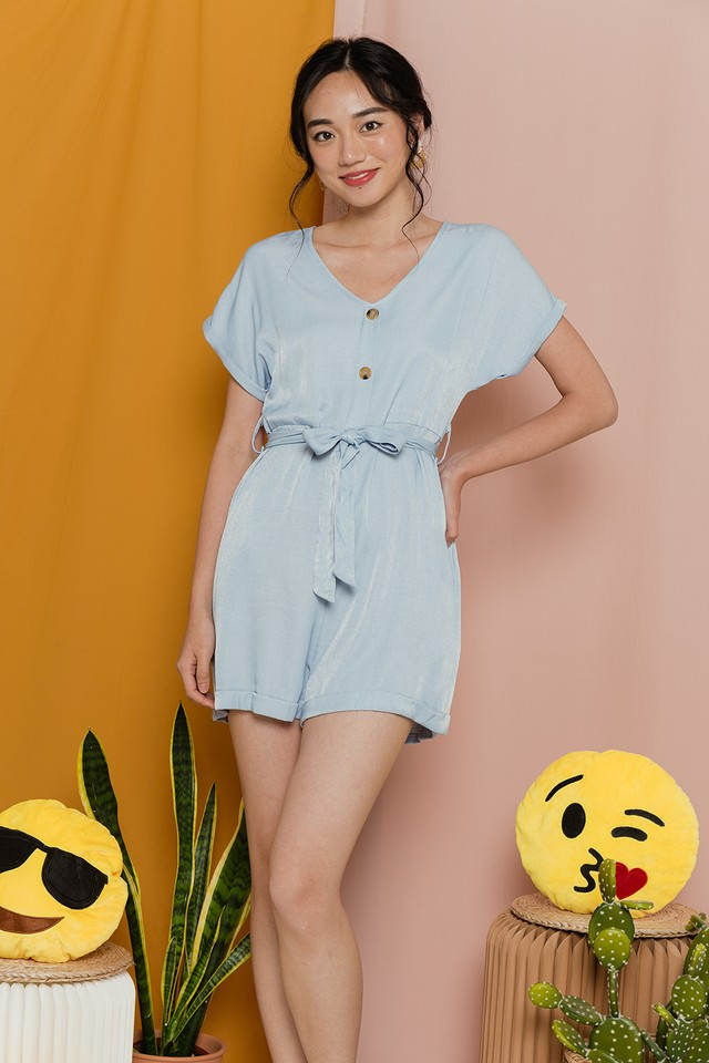 Ernestine Playsuit Light Wash