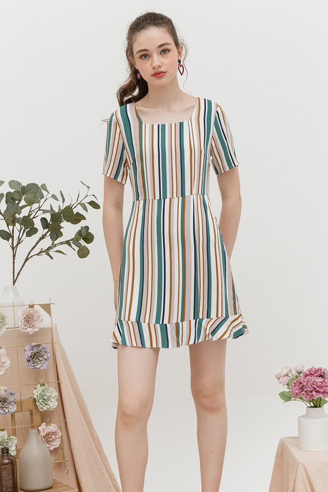 Jarina Dress Green/Brown Stripes