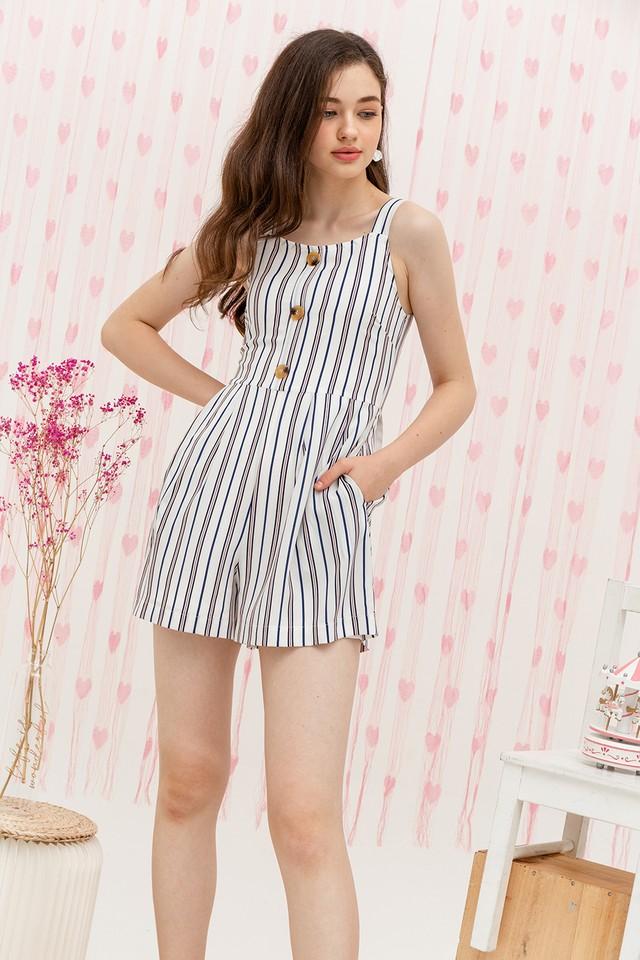Elina Playsuit White Stripes