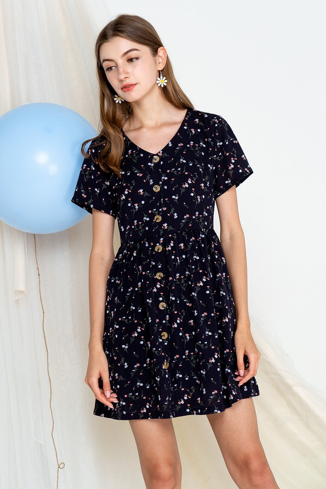 Khloe Dress Navy Floral