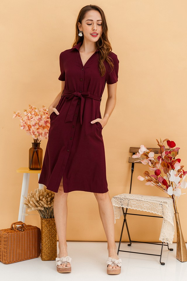 Calliope Dress Maroon