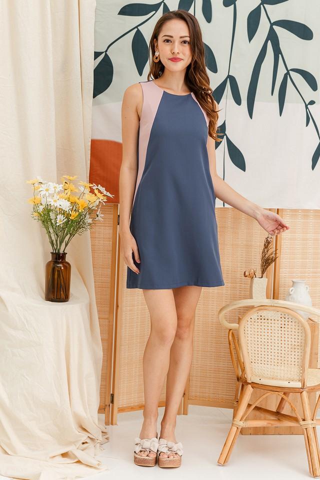 Porter Colourblock Dress Ash Blue