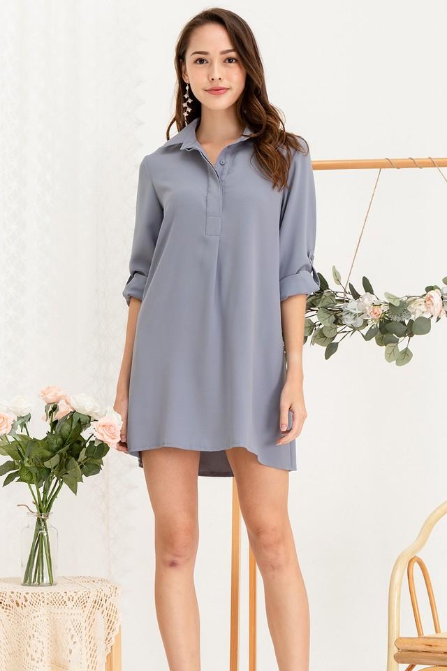 Ondine Shirtdress Grey Blue