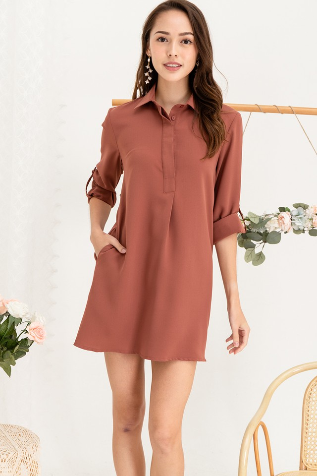 Ondine Shirtdress Brick