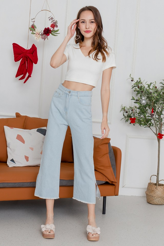 Kiyomi Slit Denim Jeans Light Wash