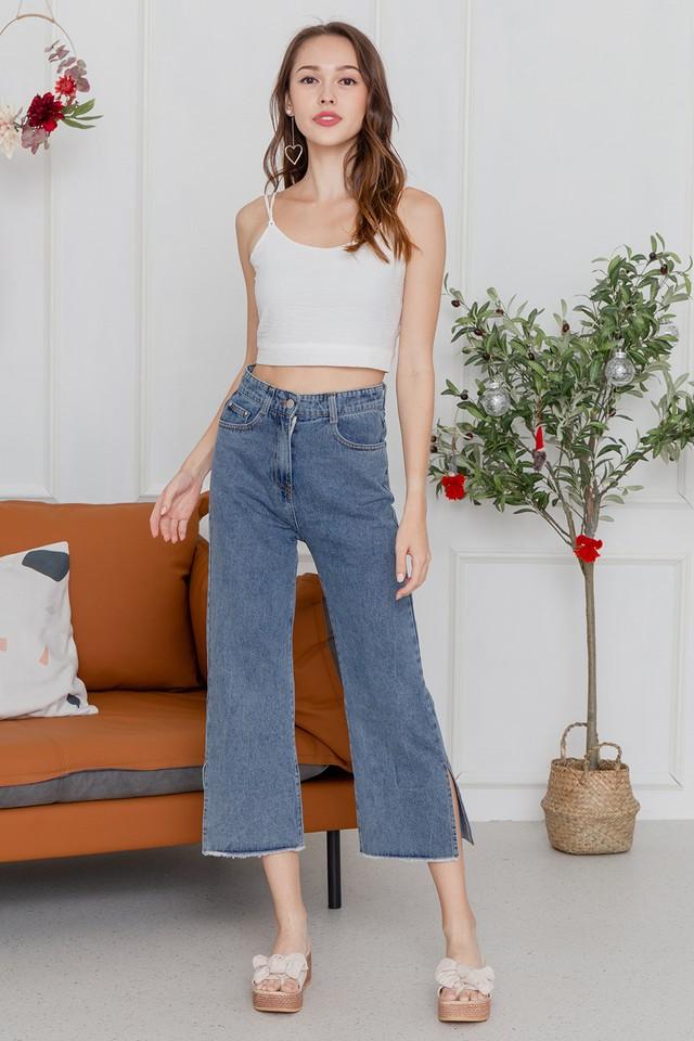 Kiyomi Slit Denim Jeans Dark Wash