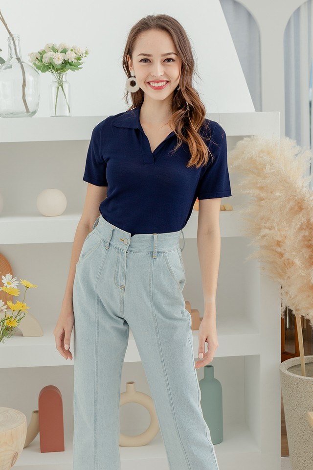 Dolores Knit Top Navy