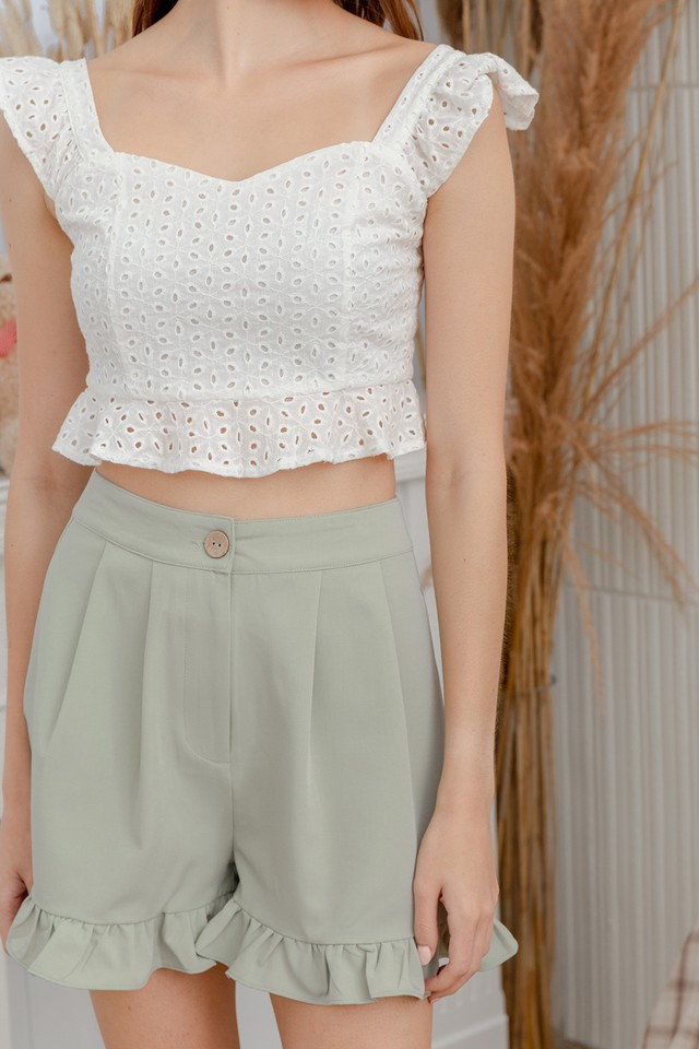 Bertia Eyelet Top White