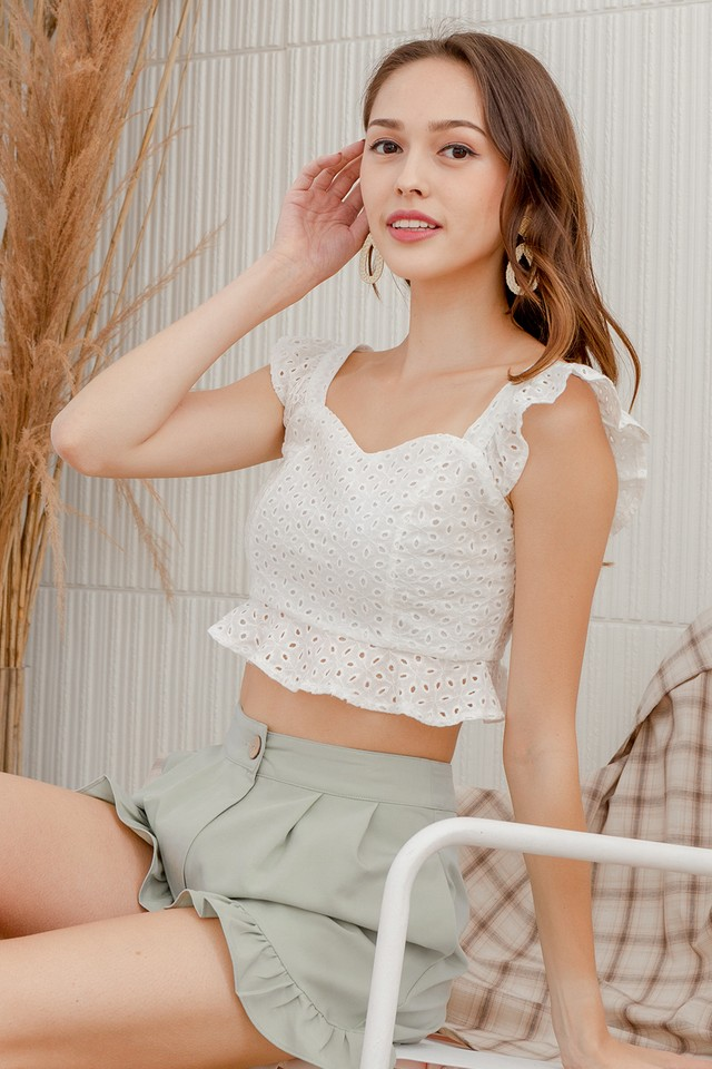 Bertia Eyelet Top White