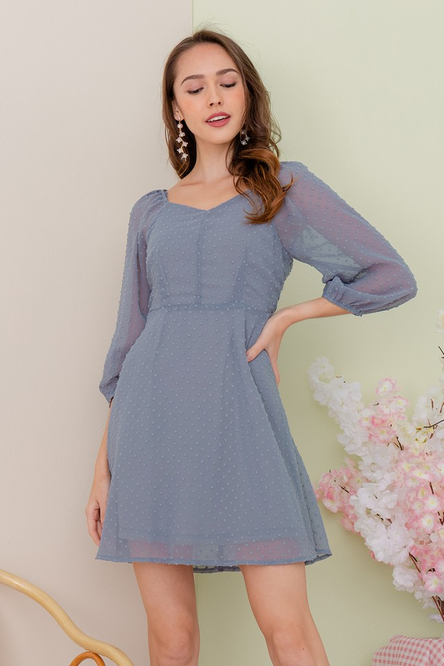 Leland Swiss Dots Dress Ash Blue