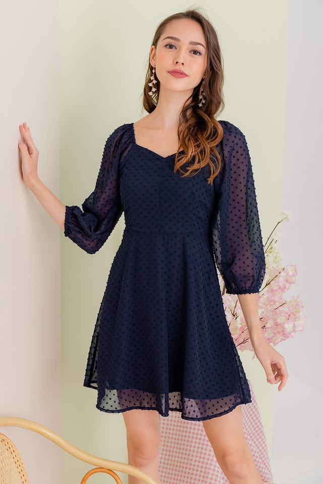 Leland Swiss Dots Dress Navy