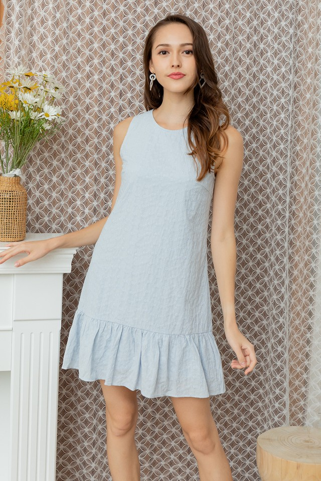 Mavina Eyelet Dress Pastel Blue