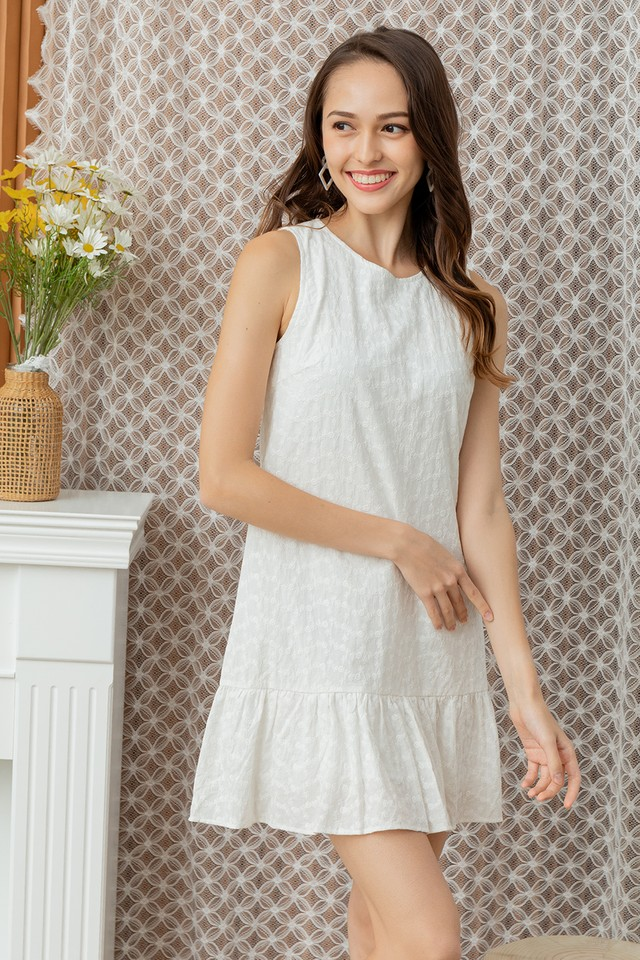 Mavina Eyelet Dress White