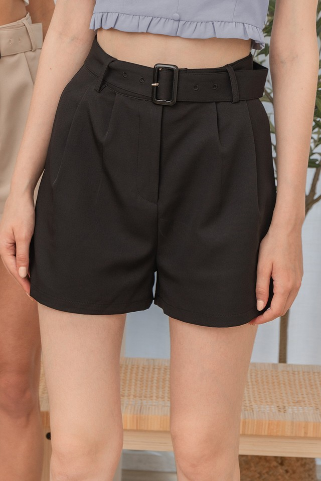 Coby Belted Shorts Black