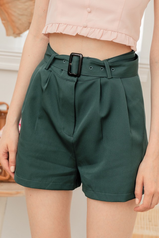 Coby Belted Shorts Forest
