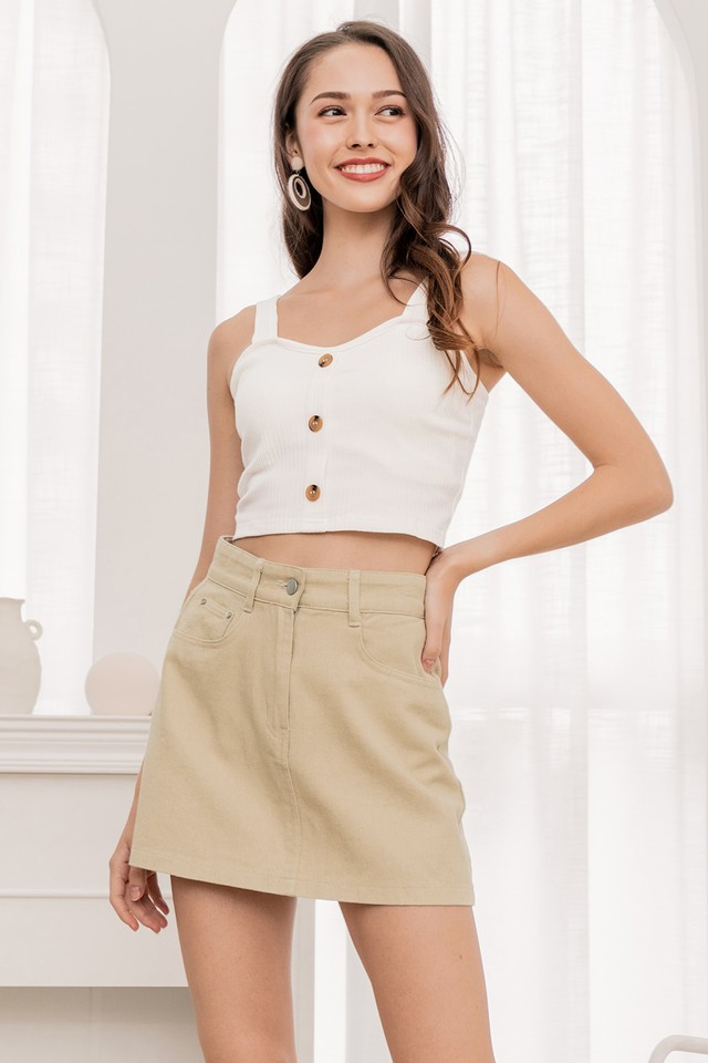 Quinton Denim Skirt Pecan