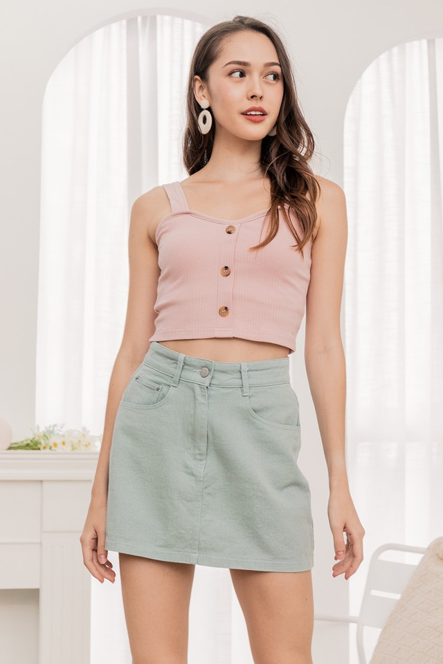 Quinton Denim Skirt Pistachio