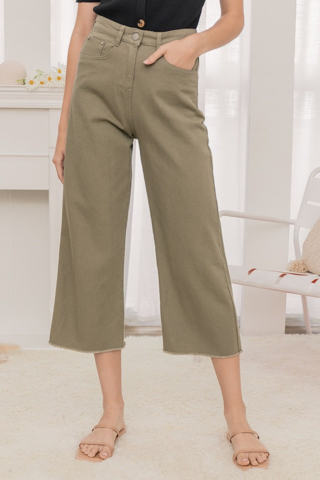 Liza Denim Pants Olive